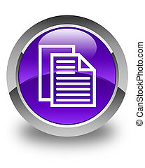 Document pages icon glossy purple round button