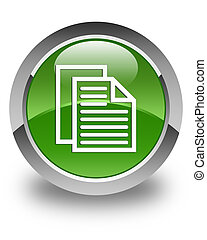 Document pages icon glossy soft green round button