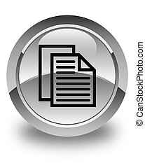 Document pages icon glossy white round button