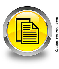 Document pages icon glossy yellow round button