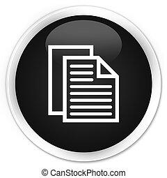 Document pages icon premium black round button