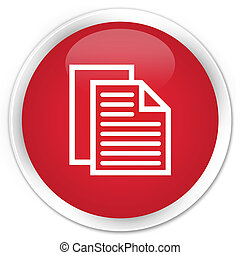 Document pages icon premium red round button