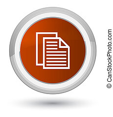 Document pages icon prime brown round button
