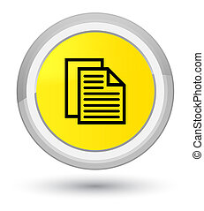 Document pages icon prime yellow round button
