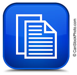 Document pages icon special blue square button