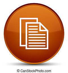 Document pages icon special brown round button