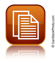 Document pages icon special brown square button