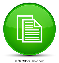 Document pages icon special green round button
