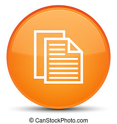Document pages icon special orange round button