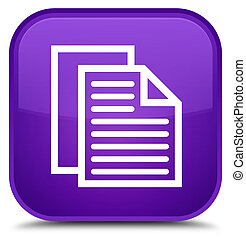 Document pages icon special purple square button