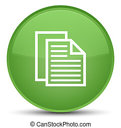 Document pages icon special soft green round button