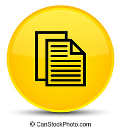 Document pages icon special yellow round button