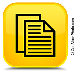 Document pages icon special yellow square button