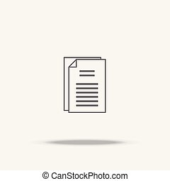 Document paper flat icon with shadow
