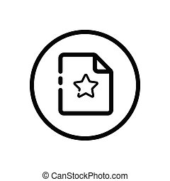 Document. Paper with star. Commerce outline icon in a circle. Vector illustration