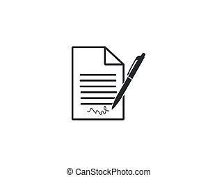 Vector illustration. Document pen signature icon
