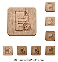 Document pin wooden buttons