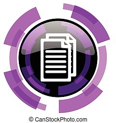 Document pink violet modern design vector web and smartphone icon. Round button in eps 10 isolated on white background.