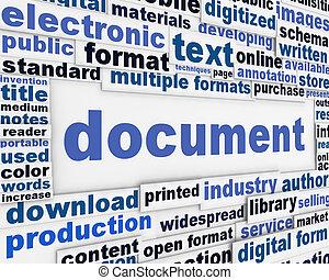 Document poster design. Information medium message...