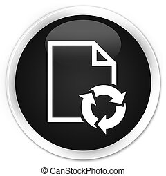 Document process icon black glossy round button