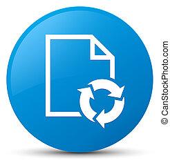Document process icon cyan blue round button