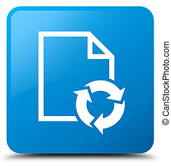 Document process icon cyan blue square button