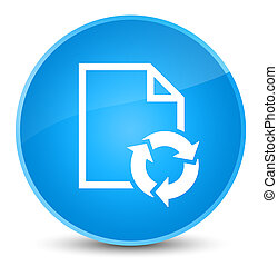 Document process icon elegant cyan blue round button