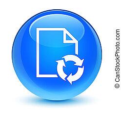 Document process icon glassy cyan blue round button