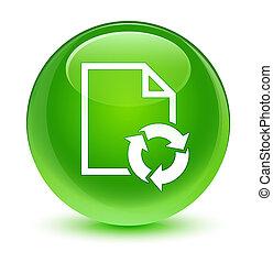 Document process icon glassy green round button