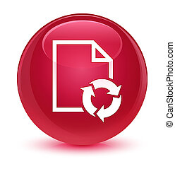 Document process icon glassy pink round button