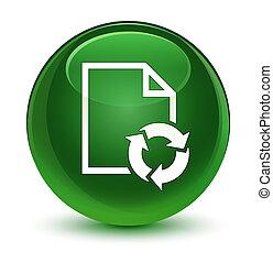 Document process icon glassy soft green round button