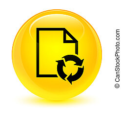 Document process icon glassy yellow round button