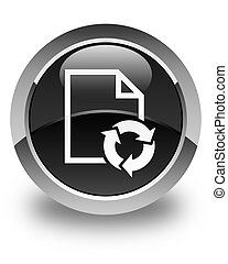 Document process icon glossy black round button
