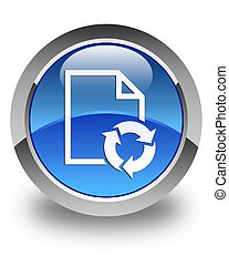 Document process icon glossy blue round button