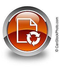 Document process icon glossy brown round button