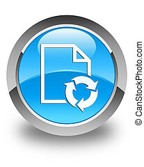 Document process icon glossy cyan blue round button