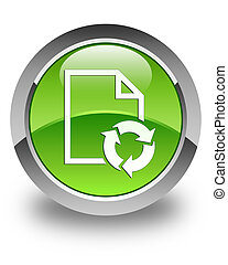 Document process icon glossy green round button
