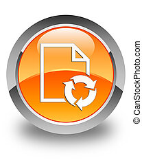 Document process icon glossy orange round button