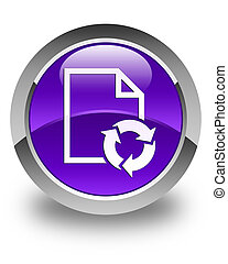 Document process icon glossy purple round button