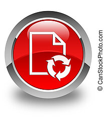 Document process icon glossy red round button