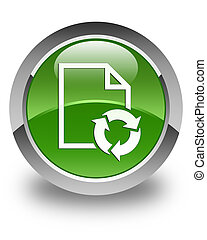 Document process icon glossy soft green round button