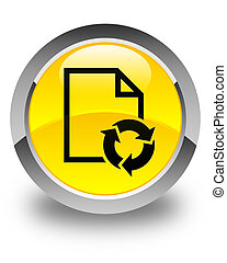 Document process icon glossy yellow round button