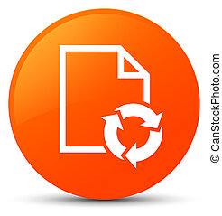 Document process icon orange round button