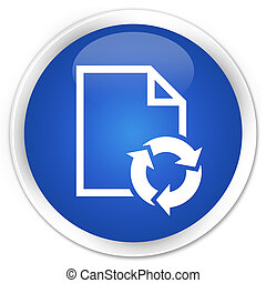 Document process icon premium blue round button