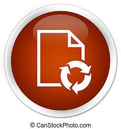 Document process icon premium brown round button