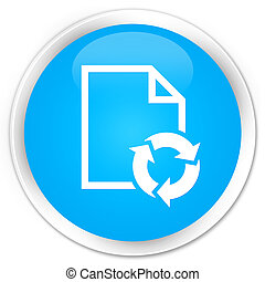 Document process icon premium cyan blue round button