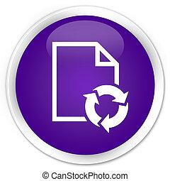 Document process icon premium purple round button