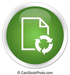 Document process icon premium soft green round button