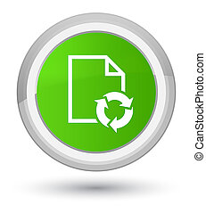 Document process icon prime soft green round button