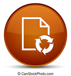 Document process icon special brown round button